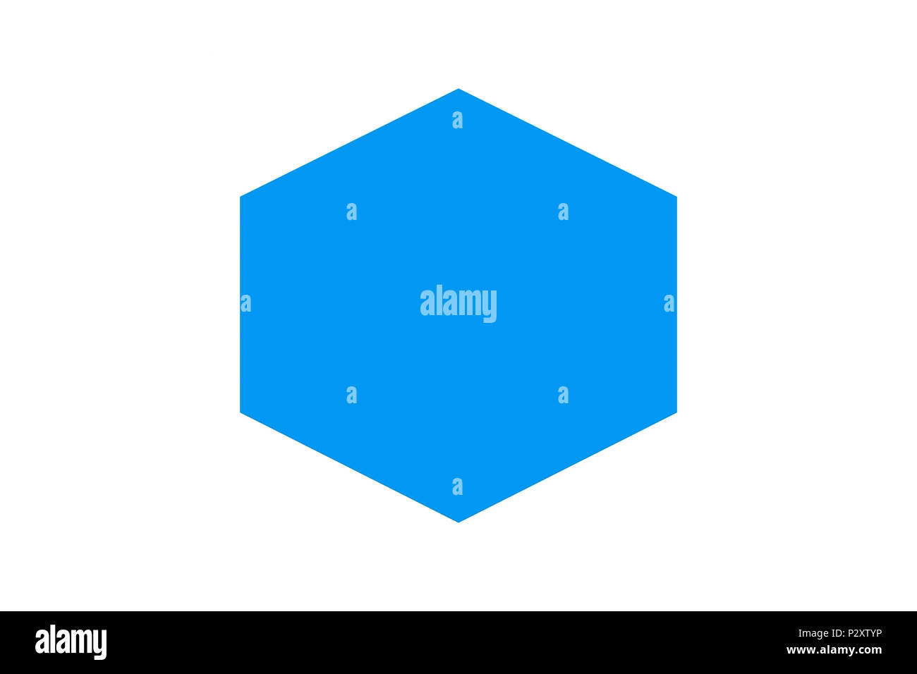 blue decahedron blue geometric figure on a white background stock