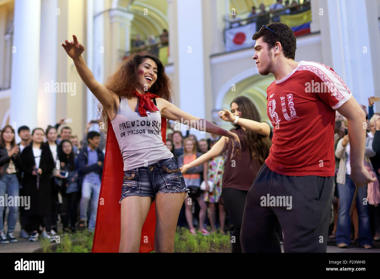St. Petersburg, Russia - June 15, 2018: Moroccan football fans dancing on Nevsky avenue in Saint Petersburg on the day of first match of FIFA World Cu - Stock Image