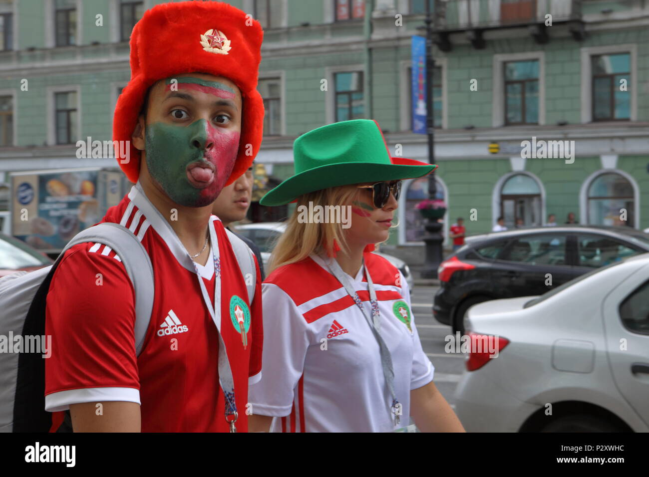 St. Petersburg, Russia - June 15, 2018: Moroccan football fans on the streets of Saint Petersburg on the day of first match of FIFA World Cup 2018 in  - Stock Image