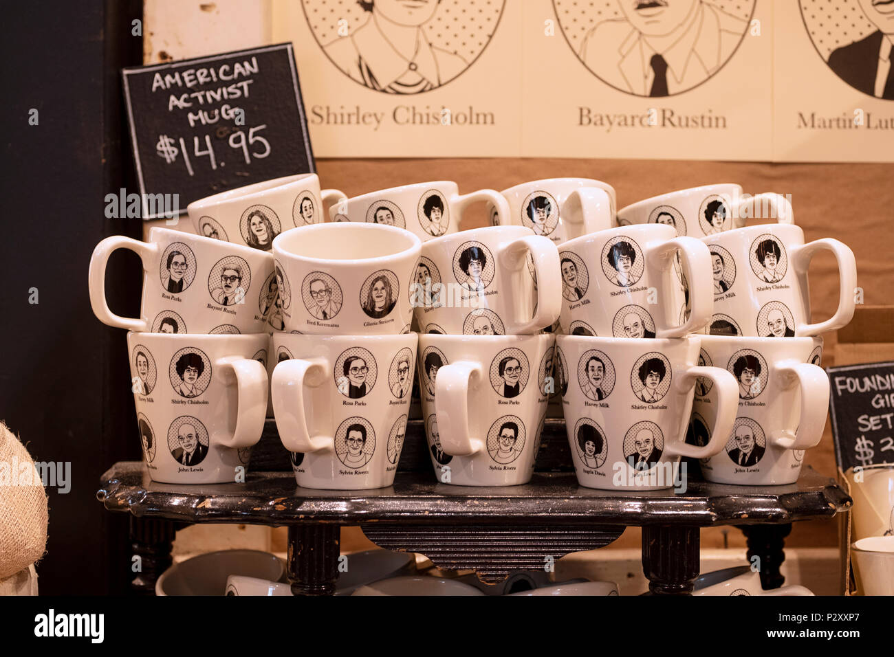 American Activist mugs for sale at Fish's Eddy in lower Manhattan, New York City. - Stock Image