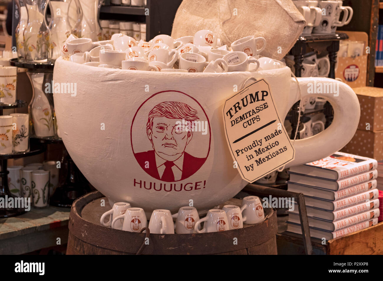 A display of Donald Trump demitasse cups that were proudly made in Mexico. At Fish's Eddy store in Manhattan, New York City. Stock Photo