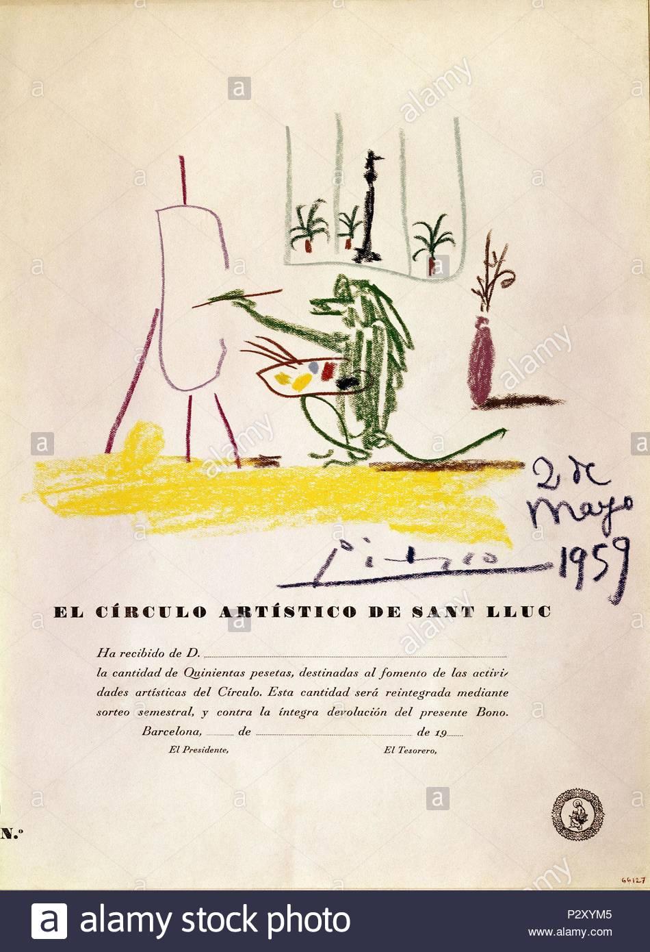 Spanish school. Drawing realized for The Artistic Circle of Sant Lluc. Dibujo realisado para el circulo Artistico de Sant Lluc. 1959 . Barcelona, Picasso Museum. Author: Pablo Picasso (1881-1973). Location: PICASSO MUSEUM, BARCELONA, SPAIN. - Stock Image