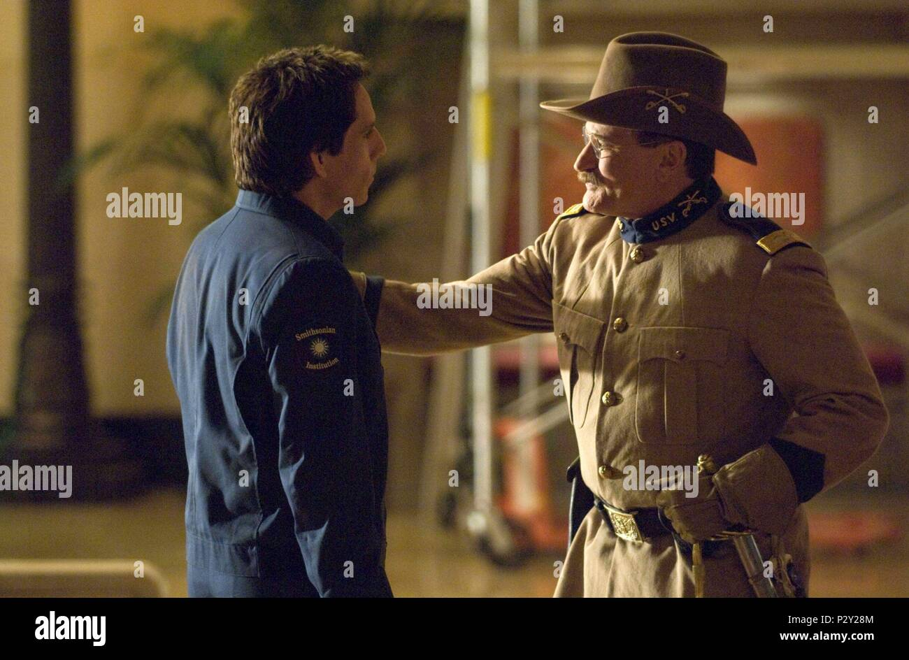 Description: RELEASE DATE: May 22, 2009 . MOVIE TITLE: Night at the Museum: Battle of the Smithsonian. STUDIO: Twentieth Century-Fox Films. PLOT: Security guard Larry Daley infiltrates the Smithsonian Institute in order to rescue Jedediah and Octavius, who have been shipped to the museum by mistake. PICTURED: BEN STILLER as Larry Daley and ROBIN WILLIAMS as Teddy Roosevelt..  Original Film Title: NIGHT AT THE MUSEUM: BATTLE OF THE SMITHSONIAN.  English Title: NIGHT AT THE MUSEUM: BATTLE OF THE SMITHSONIAN.  Film Director: SHAWN LEVY.  Year: 2009.  Stars: ROBIN WILLIAMS; BEN STILLER. Credit: 20 - Stock Image
