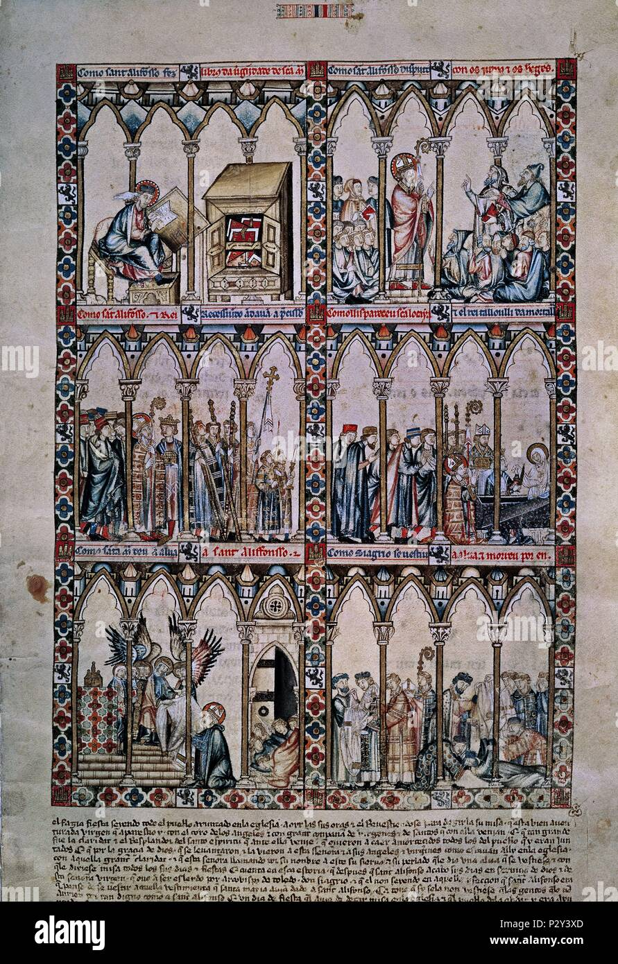 6e6639e4b33 MTI1-CANTIGA STA MARIA Nº2-F7R-MILAGRO DE SAN ILDELFONSO-VIRGEN IMPONE LA  CASULLA-S XIII. Author  Alfonso X of Castile the Wise (1221-1284).