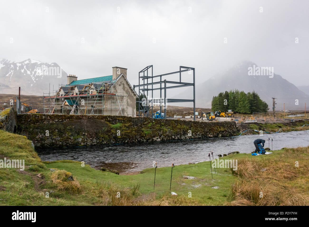 Kings House Hotel, Glencoe, Scotland, UK during redevelopment works in 2018 - Stock Image