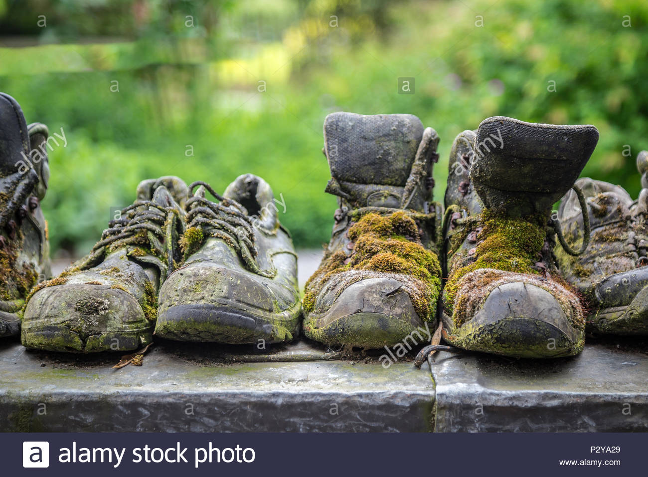 Very old work shoes - Stock Image