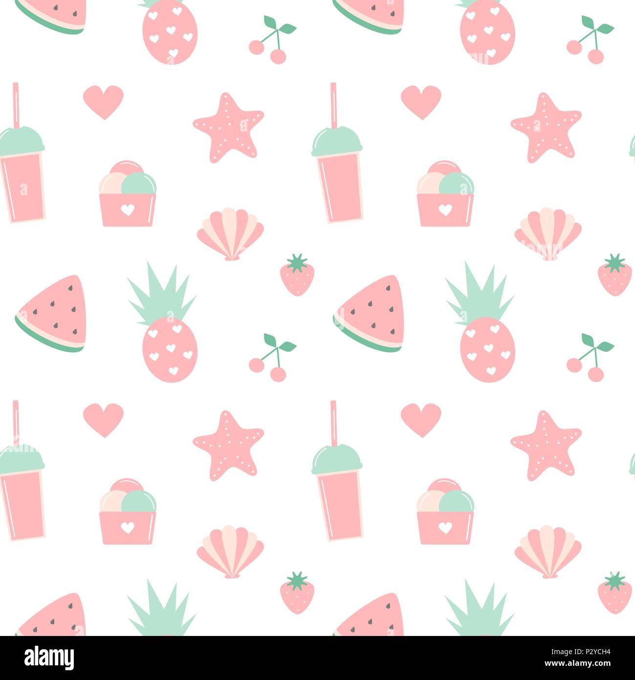 Fresh Ice Cream Stick In Summer Wallpaper Vector: Cute Summer Seamless Vector Pattern Background