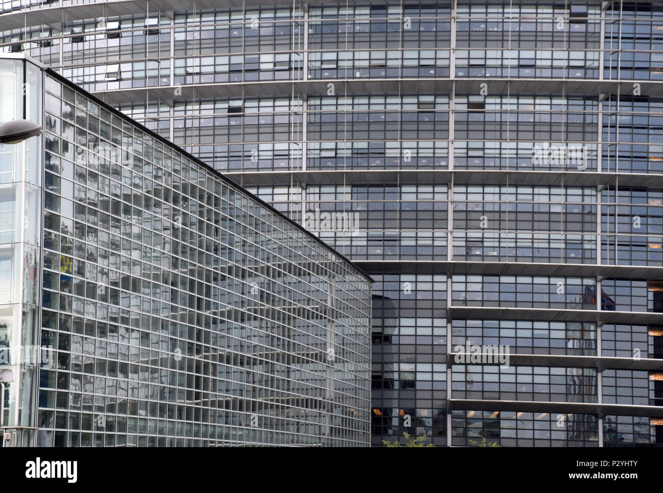 STRASBOURG, BR, FRANCE - JUNE 13, 2018: European Parliament in Strasbourg under overcast sky, big glass facade of the Parliament of the EU - Stock Image