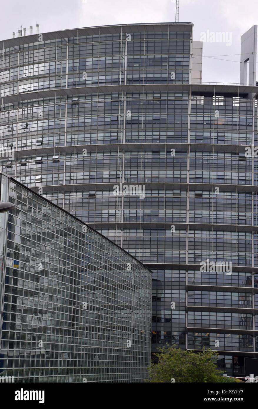 STRASBOURG, BR, FRANCE - JUNE 13, 2018: Parliament Building in Strasbourg, European Parliament in Strasbourg under overcast sky - Stock Image