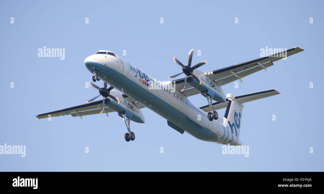 Flybe de-Haviland Canada DHC 8 Dash 8 G-JECN coming into land at London Heathrow Airport LHR - Stock Image
