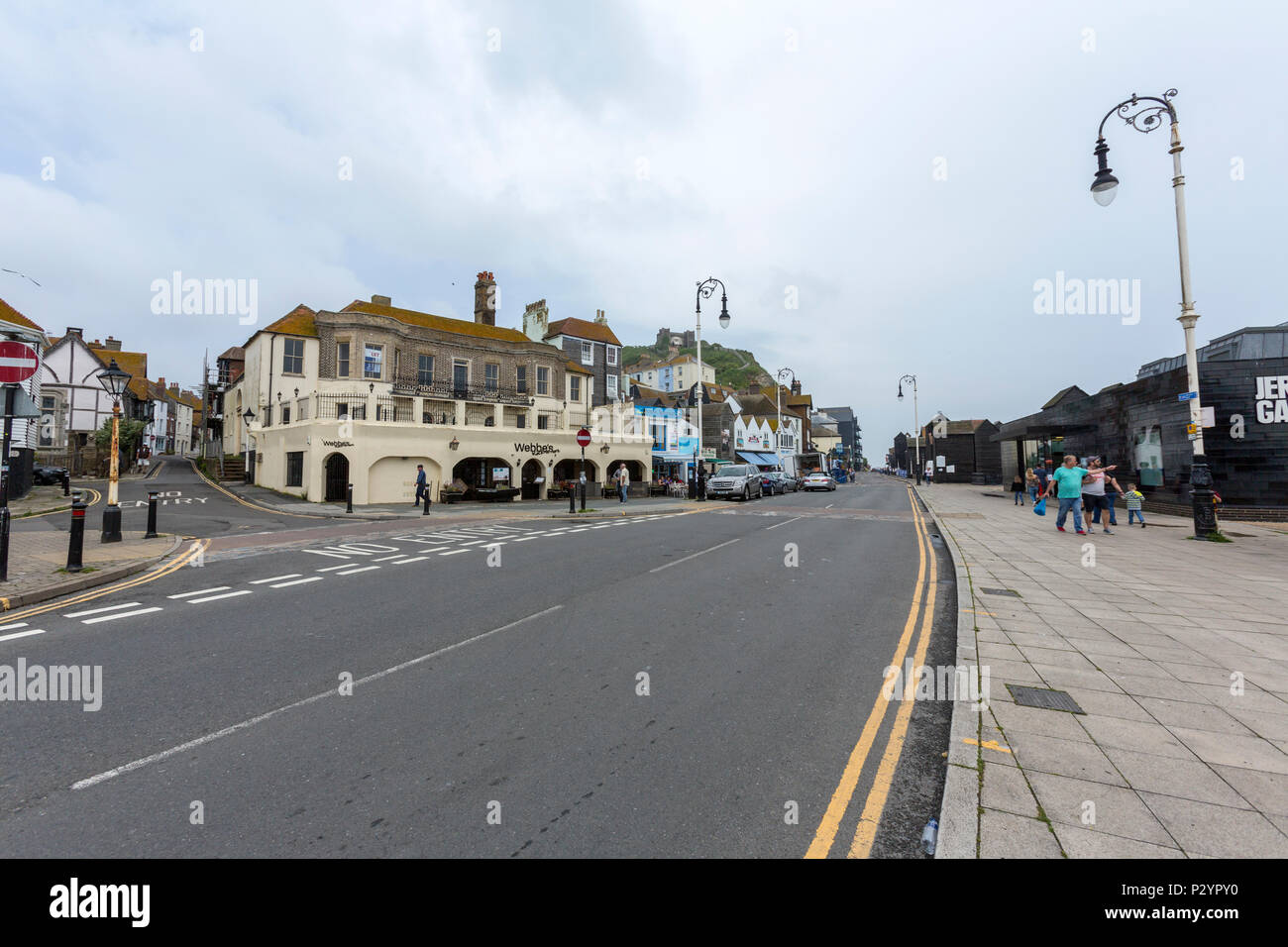 Rock-A-Nore Rd, Hastings, East Sussex, England , UK - Stock Image