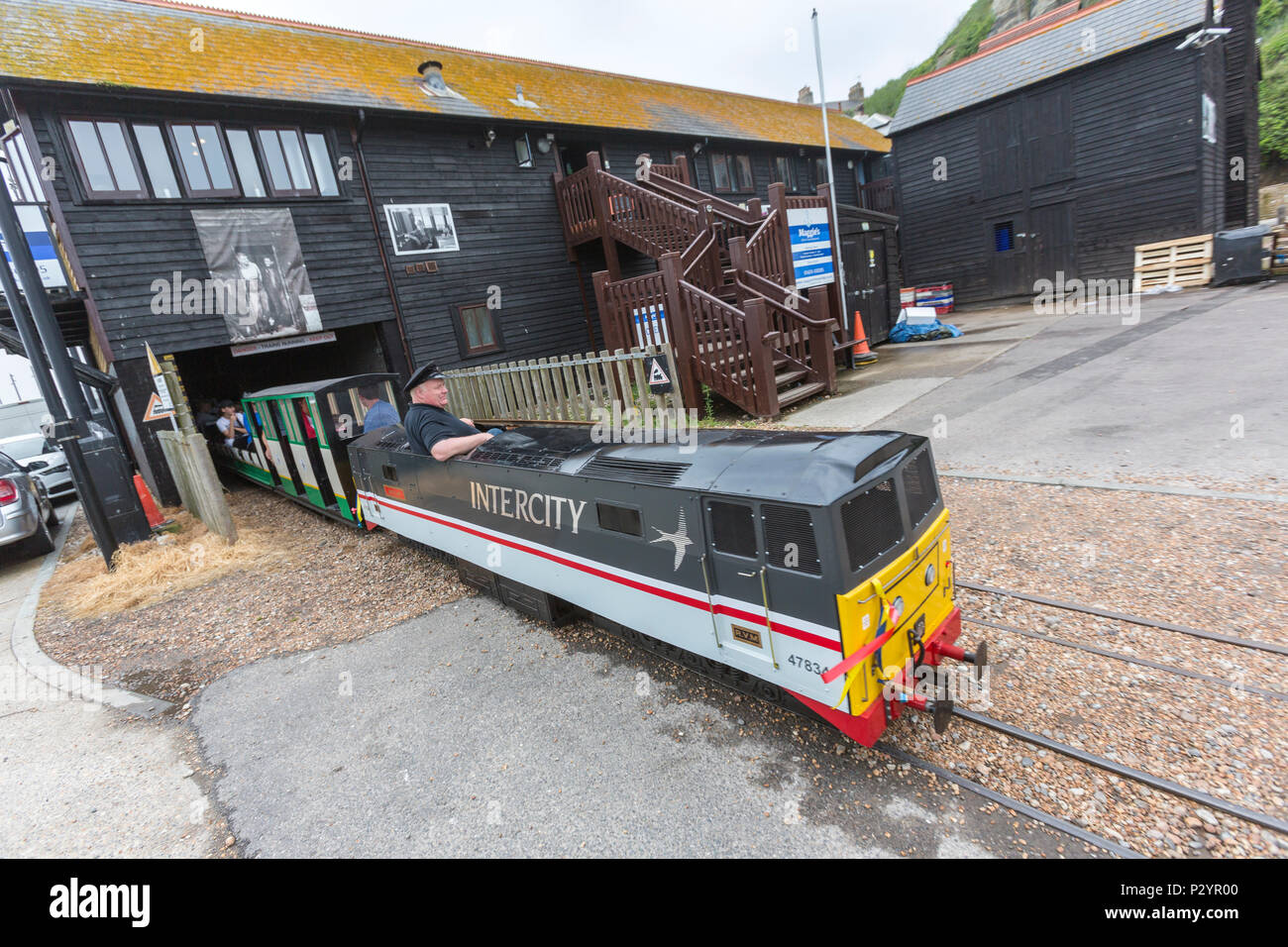 InterCity locomotive and driver, Hastings Miniature InterCity Railway. Hastings, East Sussex, England , UK - Stock Image