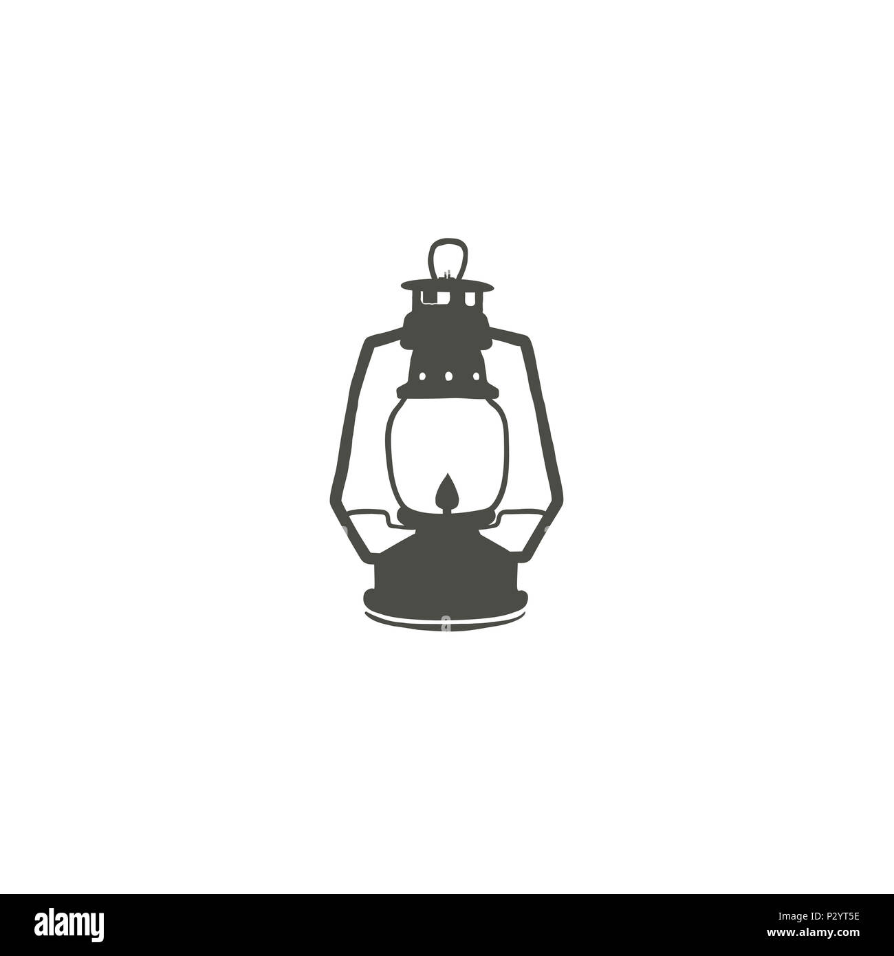 Camping Lantern Icon Silhouette Oil Lamp Black Symbol Pictogram Stock Illustration Isolated