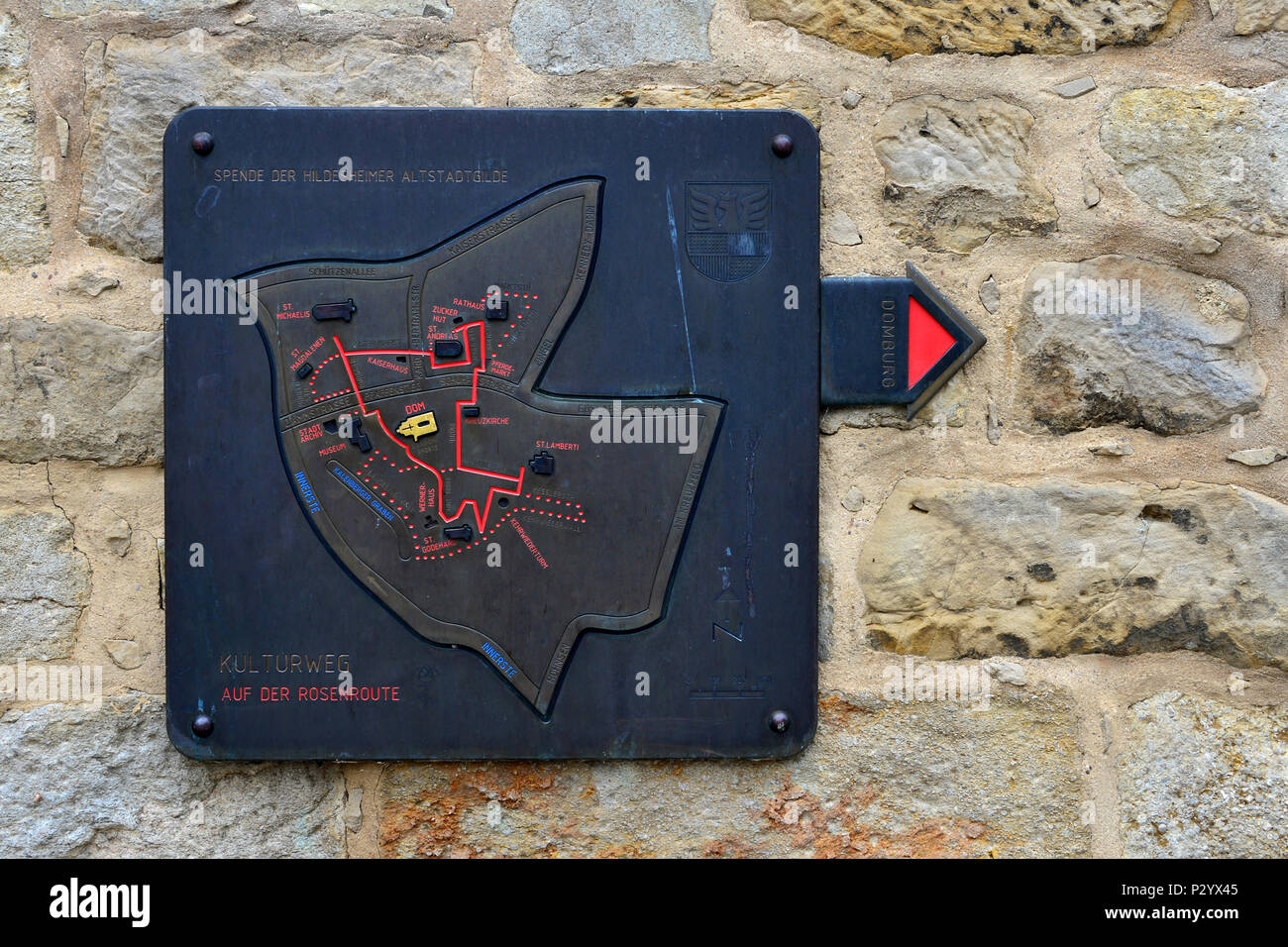 Hildesheim, Germany, signpost for the cultural itinerary on the Rosenroute - Stock Image
