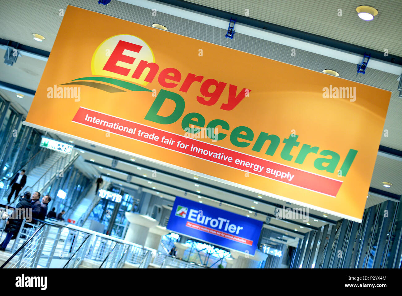Hannover, Germany, posters of the trade fairs Energy Decentral and EuroTier - Stock Image
