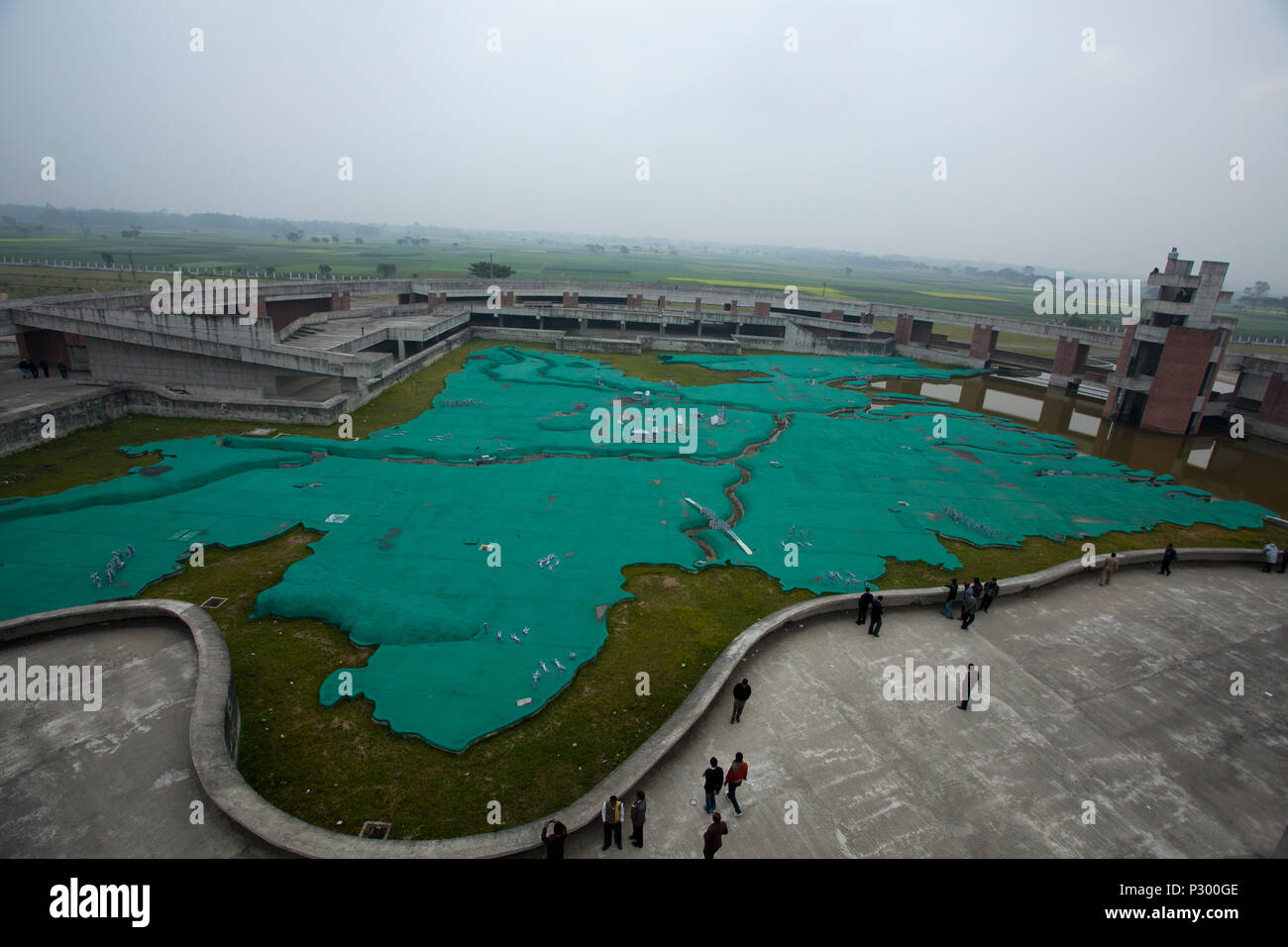 A giant Bangladesh map inside the Mujibnagar Complex. Meherpur, Bangladesh - Stock Image