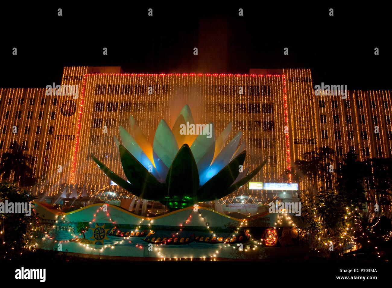 Sonali Bank Building is decorated on the eve of the Bijoy Dibash, or Victory Day of Bangladesh. Dhaka, Bangladesh. - Stock Image