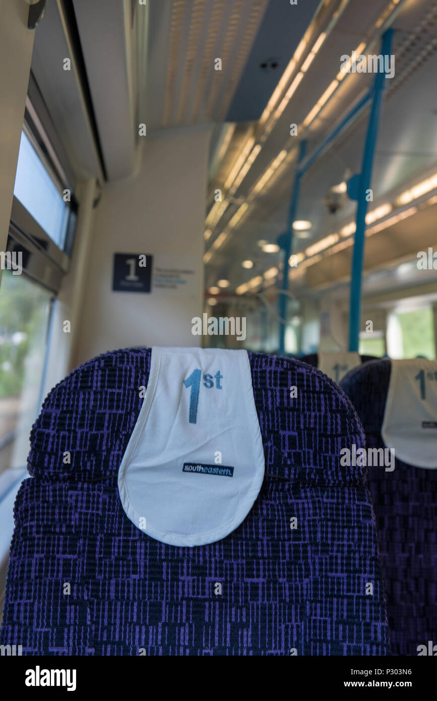 first class rail travel carriage seat. - Stock Image