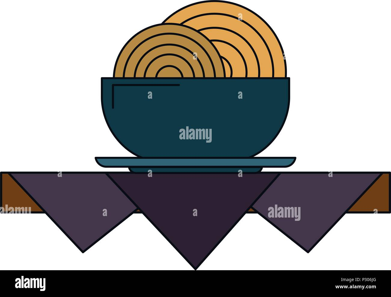Noodles on table - Stock Vector