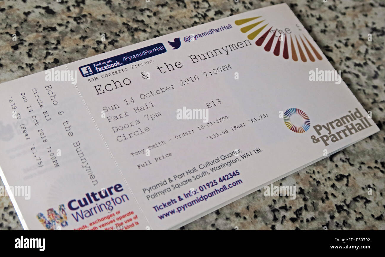 Echo & The Bunnymen Ticket, October 2018, Warrington Parr Hall, with booking fee, printed ticket - Stock Image