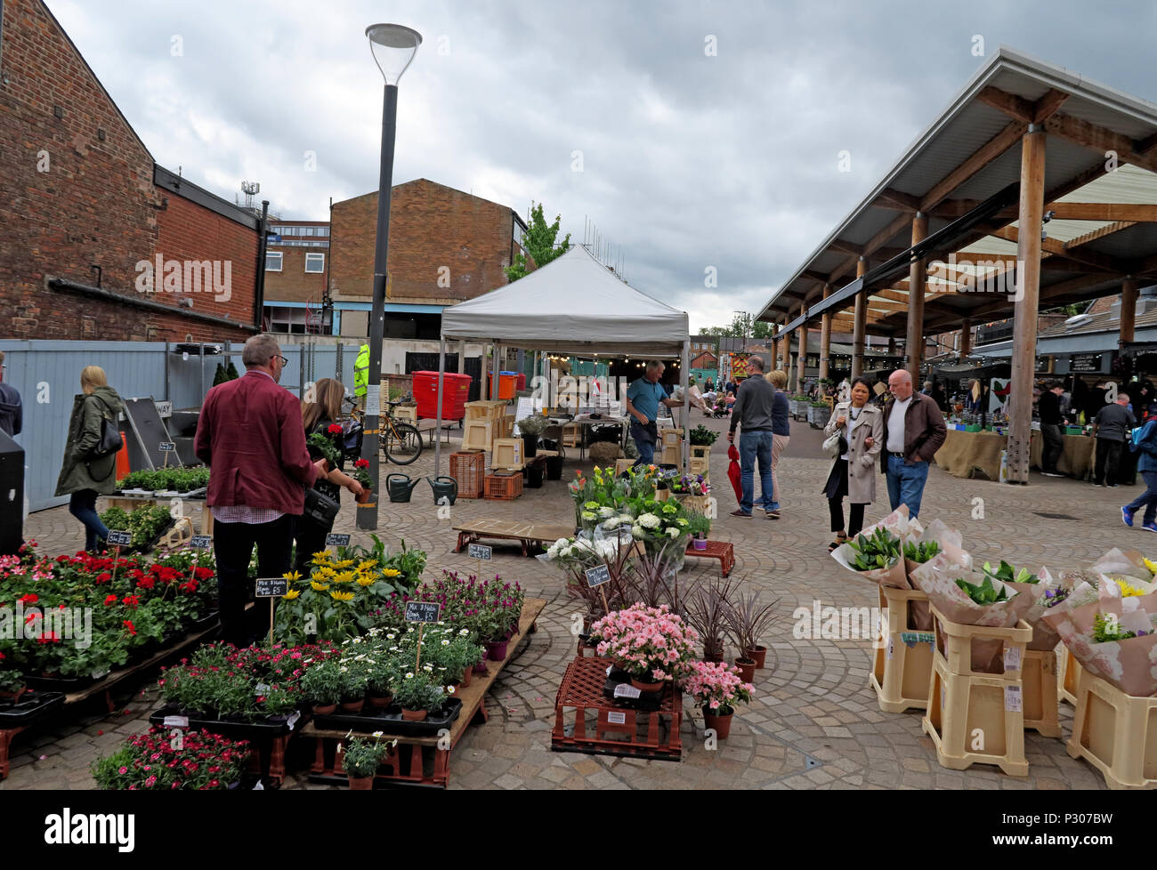 Altrincham successful retail town market (similar to Borough Market), Trafford Council, Greater Manchester, North West England, UK Stock Photo