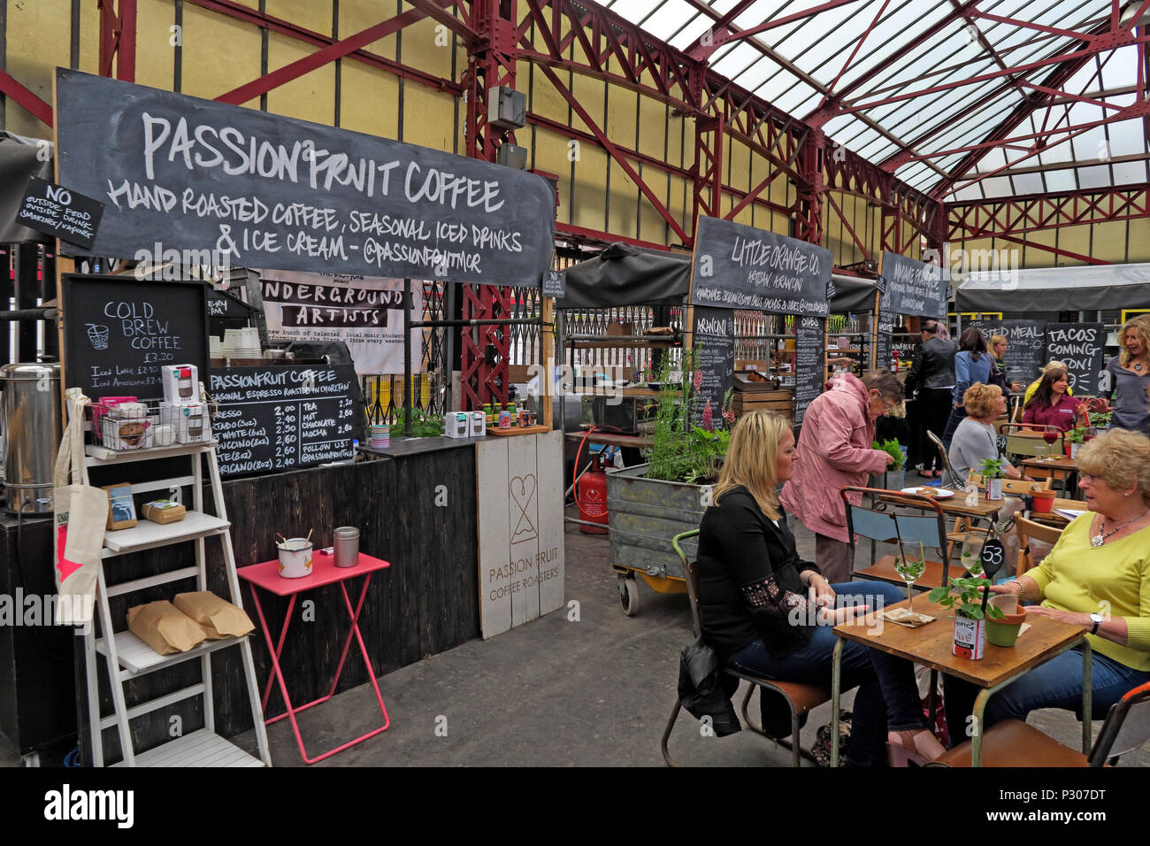 Altrincham Market House, Passion Fruit Coffee Stall, Trafford, Greater Manchester, North West England, UK - Stock Image