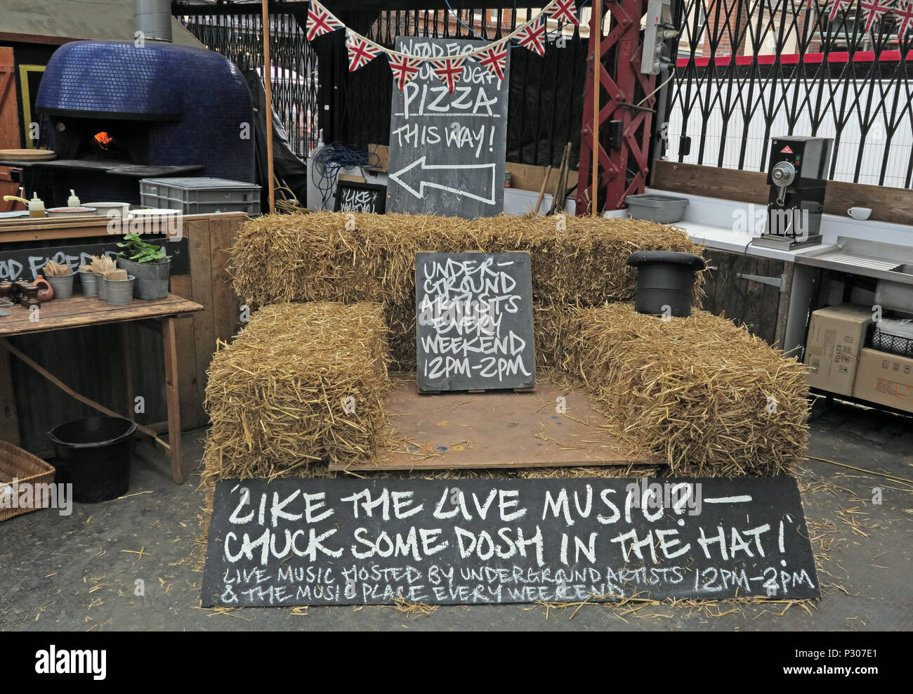 Altrincham Market House, Live Music area, Trafford, Greater Manchester, North West England, UK - Stock Image