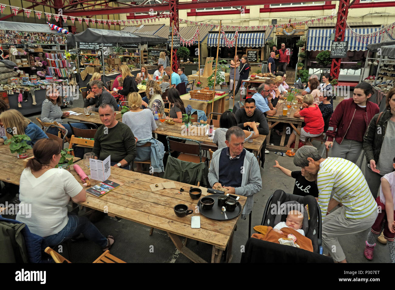 Altrincham successful retail town market (similar to Borough Market), Trafford Council, Greater Manchester, North West England, UK - Stock Image