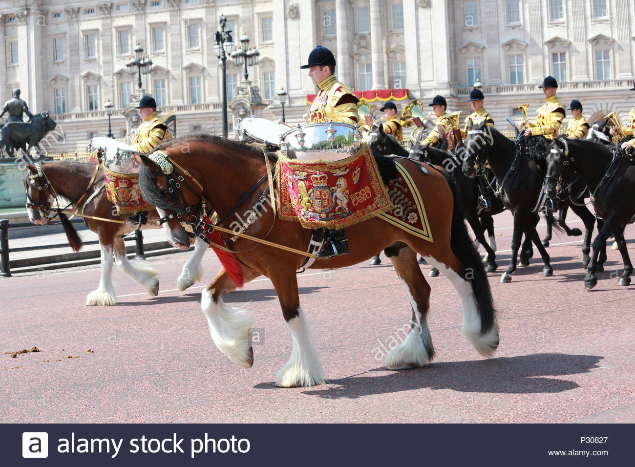 The annual Trooping the Colour has taken place in London in honour of Queen Elizabeth's birthday. Thousands lined the streets to welcome Her Majesty a - Stock Image