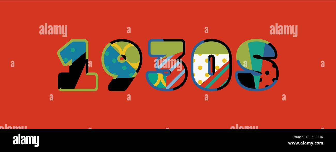 The word 1930s concept written in colorful abstract typography. Vector EPS 10 available. - Stock Vector