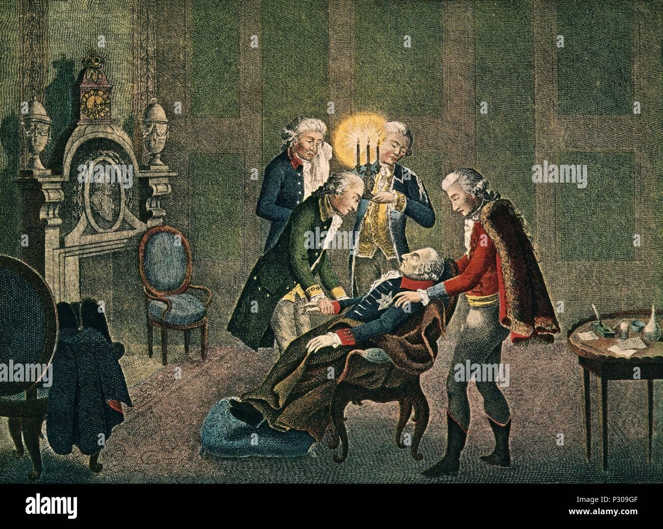 GRABADO - MUERTE DE FEDERICO II EL GRANDE REY PRUSIA EL 17 DE AGOSTO DE 1786. Author: MAAS P. Location: ARCHIVO, BERLIN, GERMANY. - Stock Image