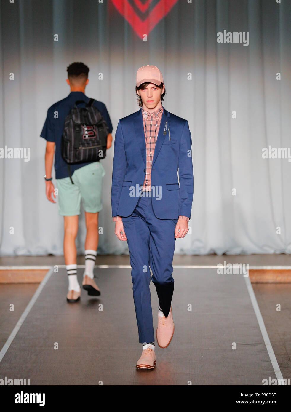London Fashion Week Mens British designer Ben Shermanpresenting  Summer Spring 2019 fashion collection at British Fashion Council Show Space - Stock Image
