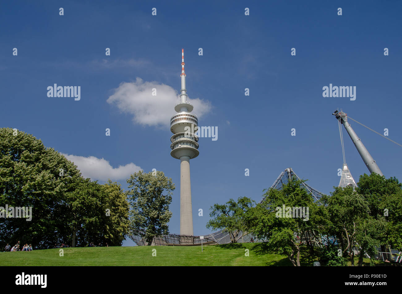 The Olympic Tower in Munich has an overall height of 291 m and a weight of 52,500 tons. At a height of 190 m there is an observation platform. - Stock Image