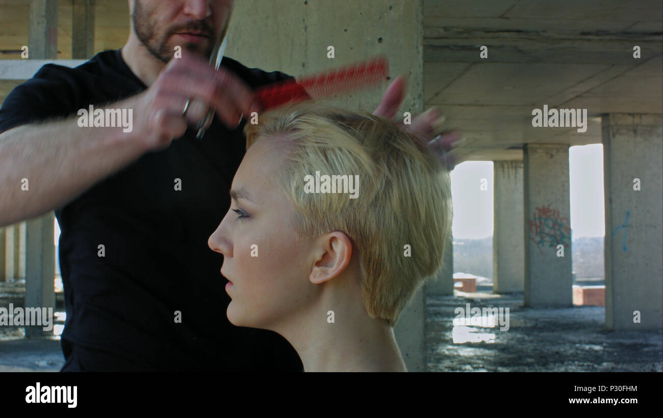 Woman Getting New Haircut By Hairdresser Stock Photo 208380640 Alamy