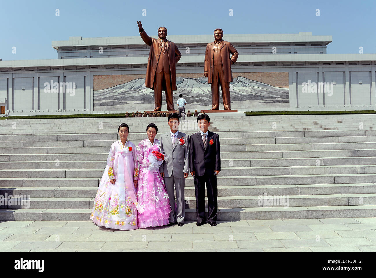 Pyongyang, North Korea, wedding parades have pictures taken at the Grossmonument Mansudae - Stock Image