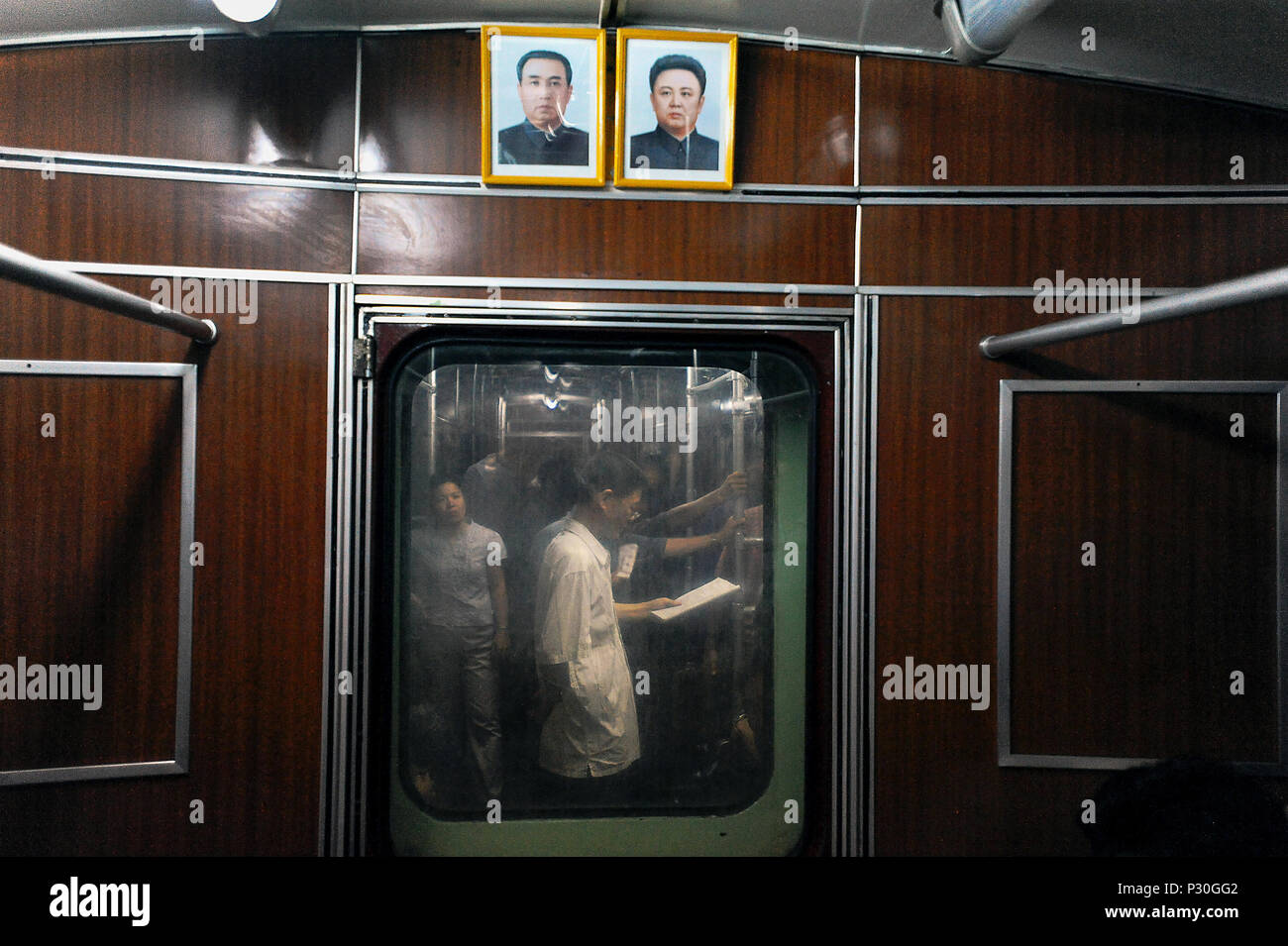 Pyongyang, North Korea, pictures of Kim Il-Sung and Kim Jong-Il in the subways - Stock Image