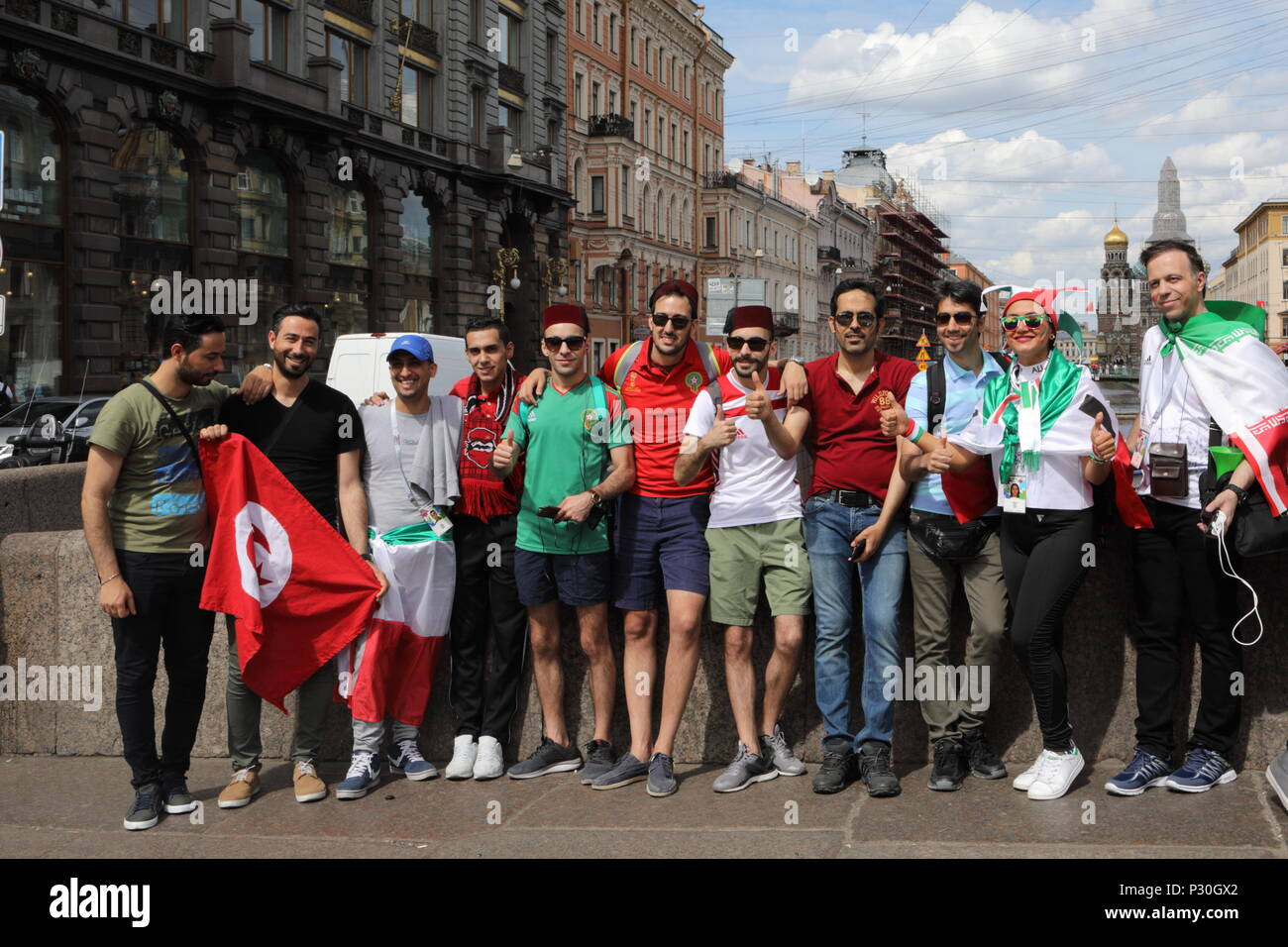 St. Petersburg, Russia - June 15, 2018: Iranian football fans on the streets of Saint Petersburg on the day of first match of FIFA World Cup 2018 in t - Stock Image
