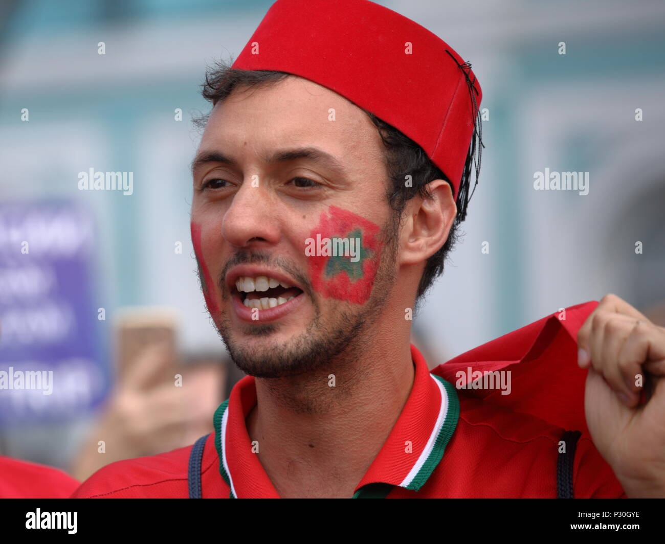 St. Petersburg, Russia - June 15, 2018: Moroccan football fan in Saint Petersburg on the day of first match of FIFA World Cup 2018 in the city. This m - Stock Image