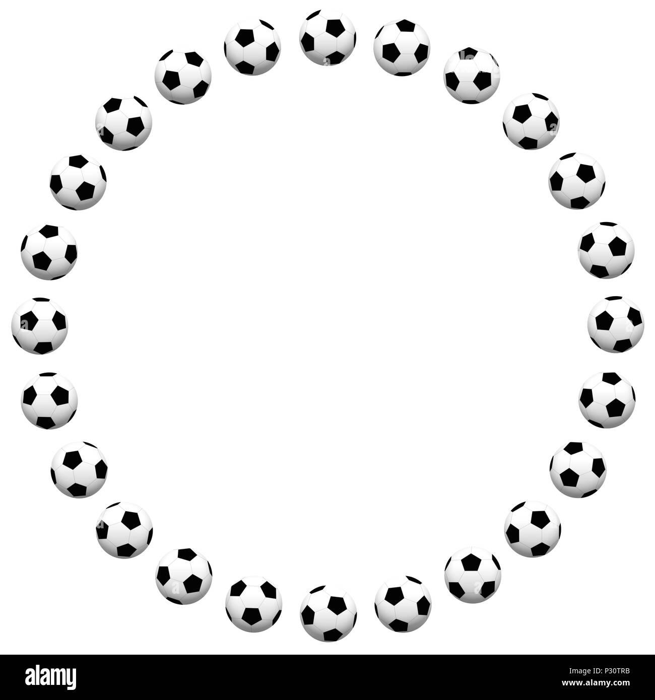 Round soccer ball frame - illustration on white background Stock ...
