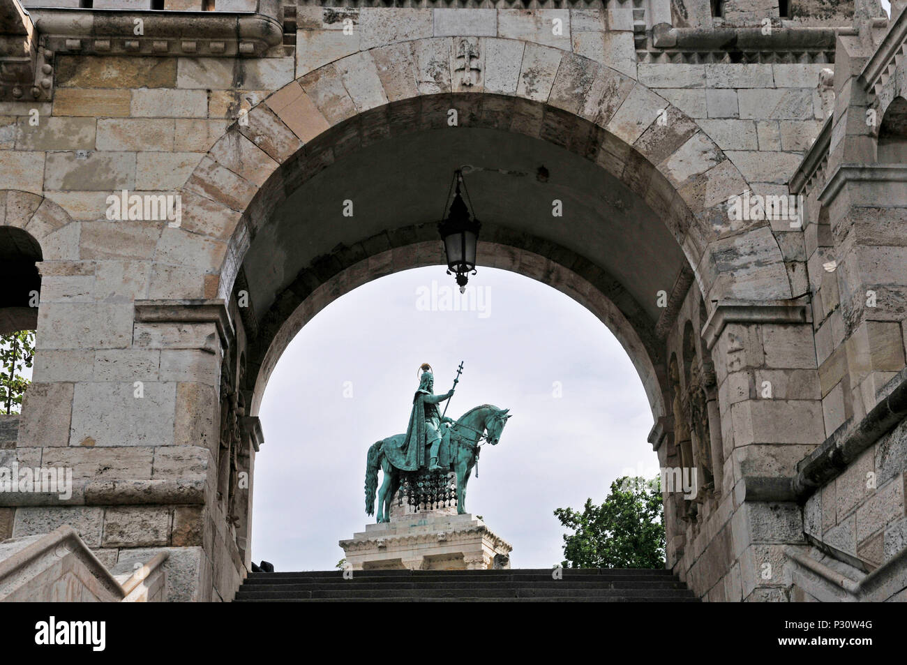 The statue of Stephen I of Hungary threw the arch, Fisherman's Bastion, Hungary, Budapest, Europe, Stock Photo