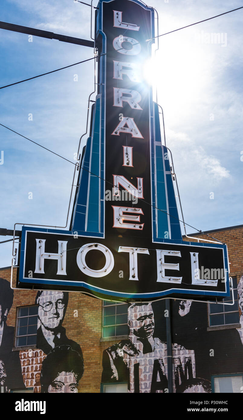 Lorraine Hotel sign at the National Civil Rights Museum at the Lorraine Motel in Memphis, TN where Martin Luther King was assassinated in April 1968. Stock Photo