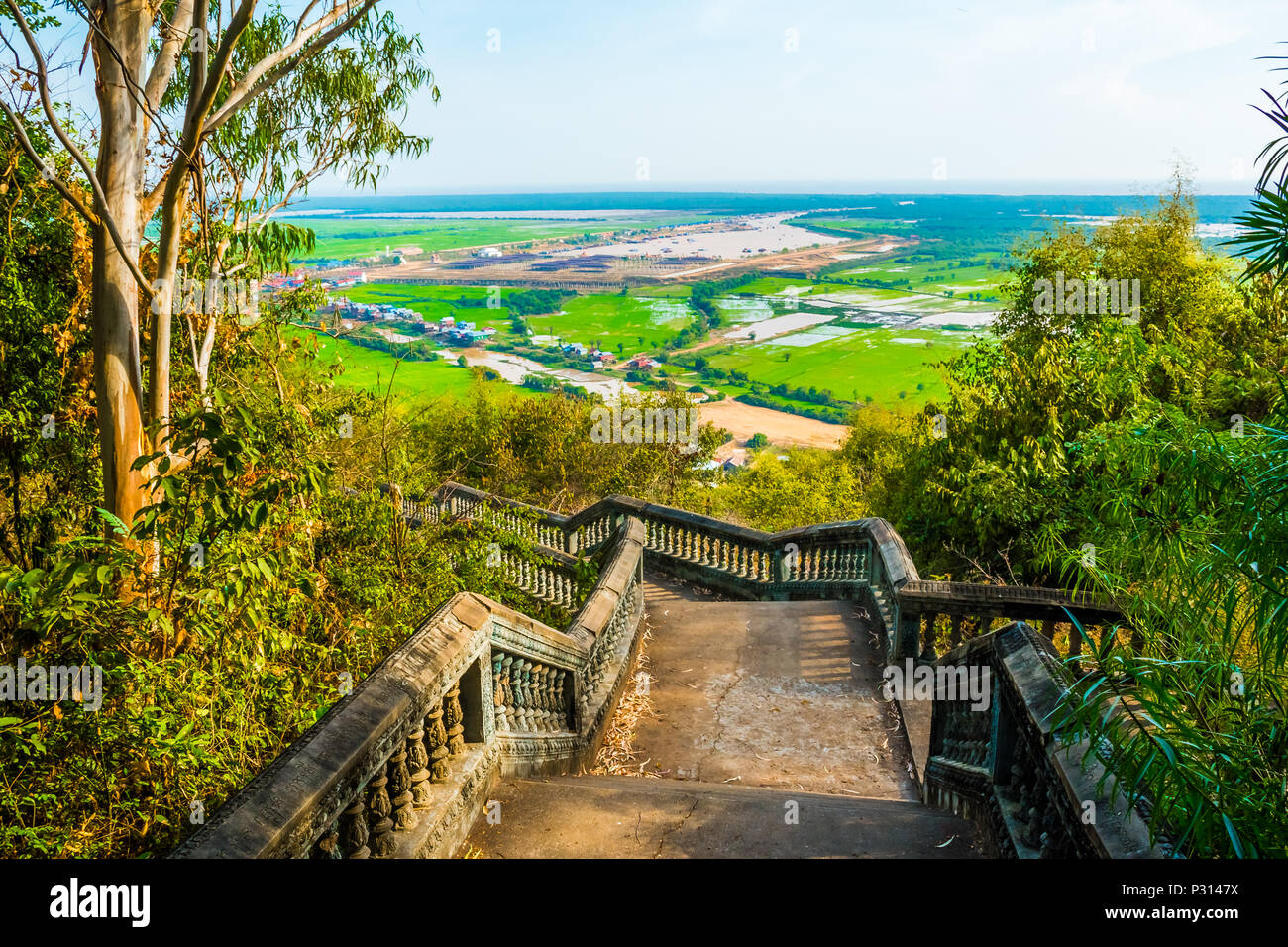 Mysterious old ancient Phnom Krom temple on the hill near Siem Reap, Cambodia - Stock Image