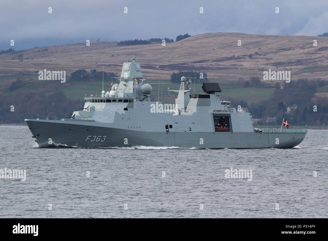 KDM Niels Juel (F363), an Iver Huitfeldt-class frigate operated by the Royal Danish Navy, passing Gourock at the start of Exercise Joint Warrior 18-1. Stock Photo