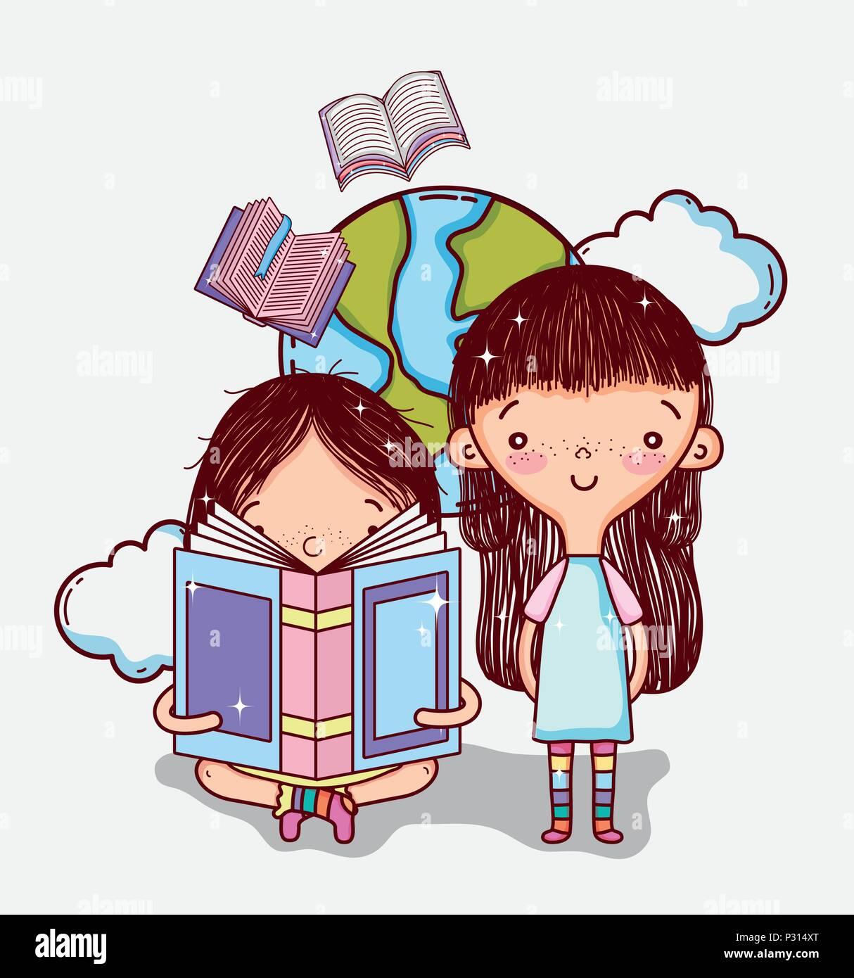 cute girls cartoons stock vector art & illustration, vector image