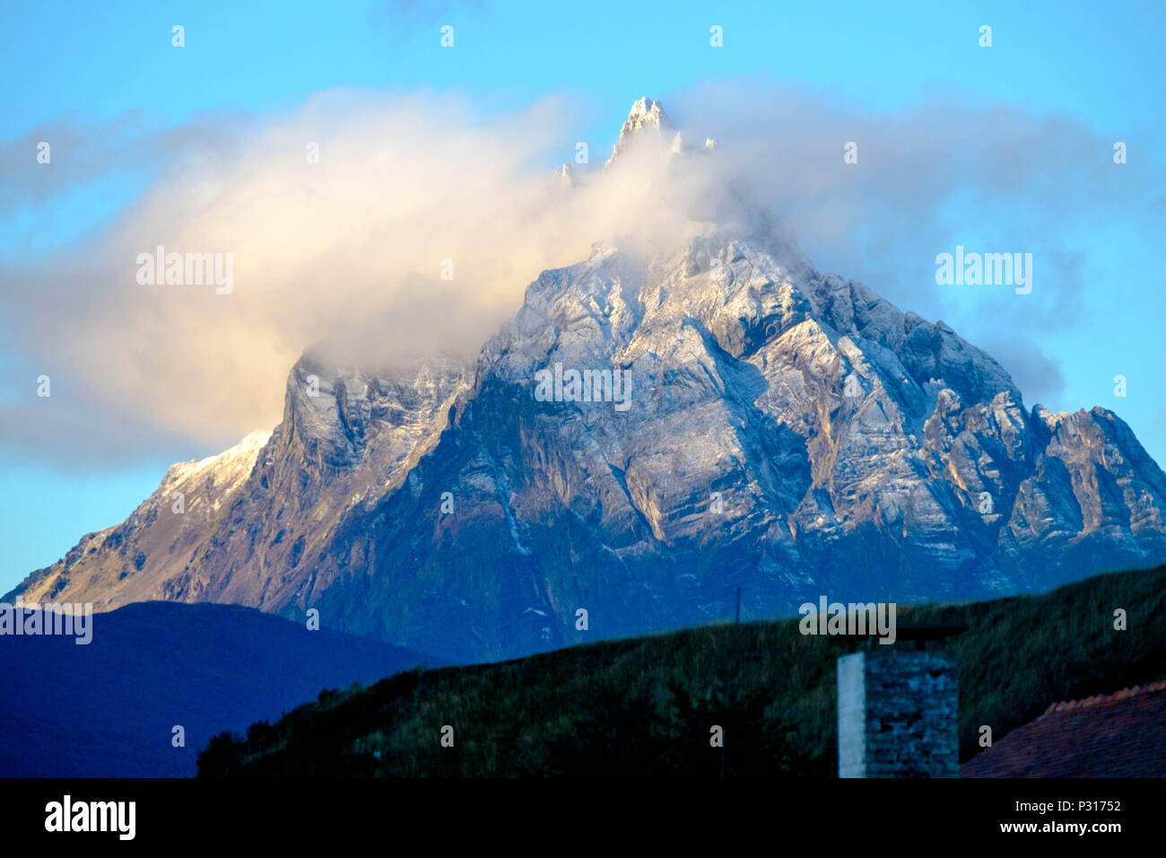 Monte Olivia is looking down on the city of Ushuaia. This sharp-headed mountain is the highest and most impressive one of Ushuaia. Stock Photo