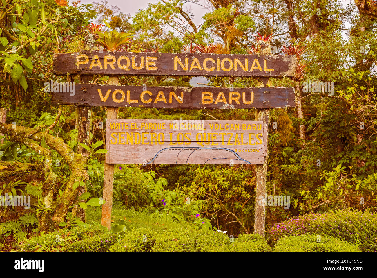 Sign into Volcan Baru National Park inear Boquete in Panama - Stock Image