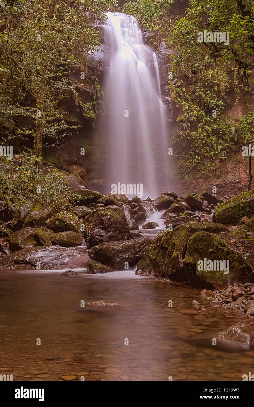The Lost Waterfalls are located on the slopes of Volcan Baru near Boquete in Panama. There are three waterfalls on this hike. The views and waterfalls - Stock Image