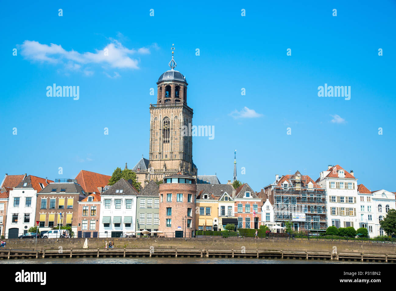 view at Deventer wit famous Lebuinis church, Overijssel, Holland Stock Photo