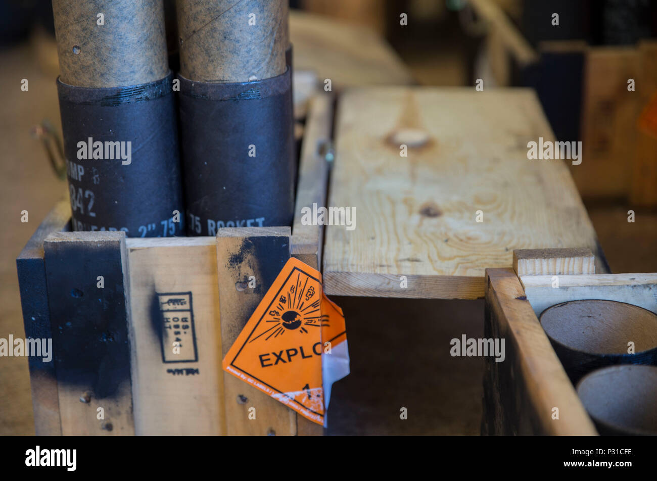 Boxes of 2.75-inch high explosive rockets wait to be assembled during Southern Frontier at Royal Australian Air Force Base Tindal, Australia, Aug. 24, 2016. Southern Frontier afforded Iwakuni Marines the opportunity to train with high explosive weapon body groups typically not used in Japan, while expanding technical and tactical proficiency in their craft. Munitions built during this training are in support of Marine Fighter Attack Squadron (VMFA) 122, who also gain experience and qualifications in low altitude, air-ground, high explosive ordnance delivery at the unit level. (U.S. Marine Corp - Stock Image