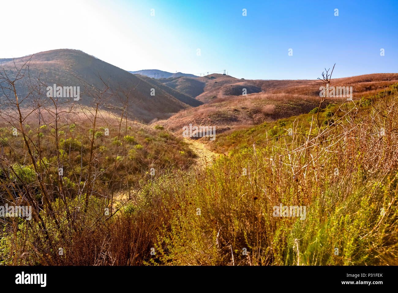 Hiking the hills in San Clemente Calfiornia Stock Photo